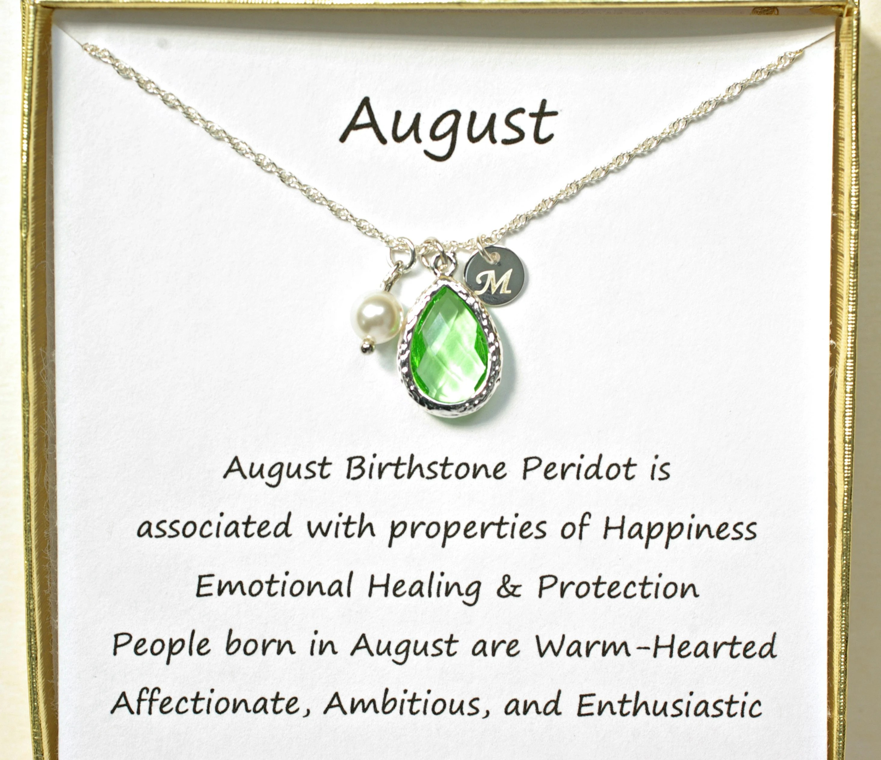 Always green in color but with considerable variations, a peridot's particular shade depends on its source. August Birthstone Necklace Personalized With Sterling Silver Etsy