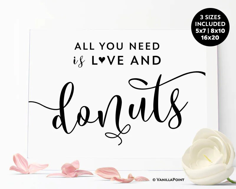 Download All You Need is Love And Donuts Sign Printable Donut Bar ...