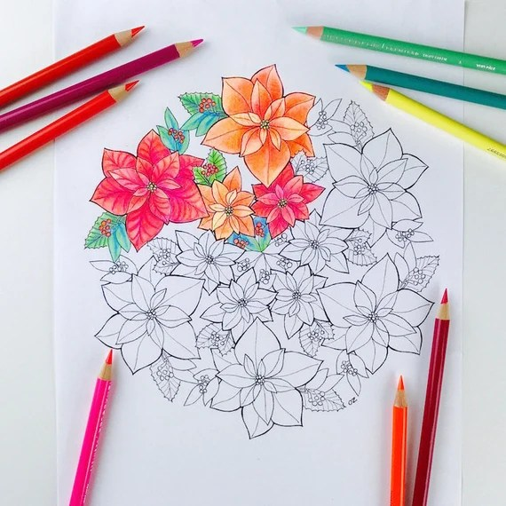 mandala coloring page poinsettia coloring page for adults
