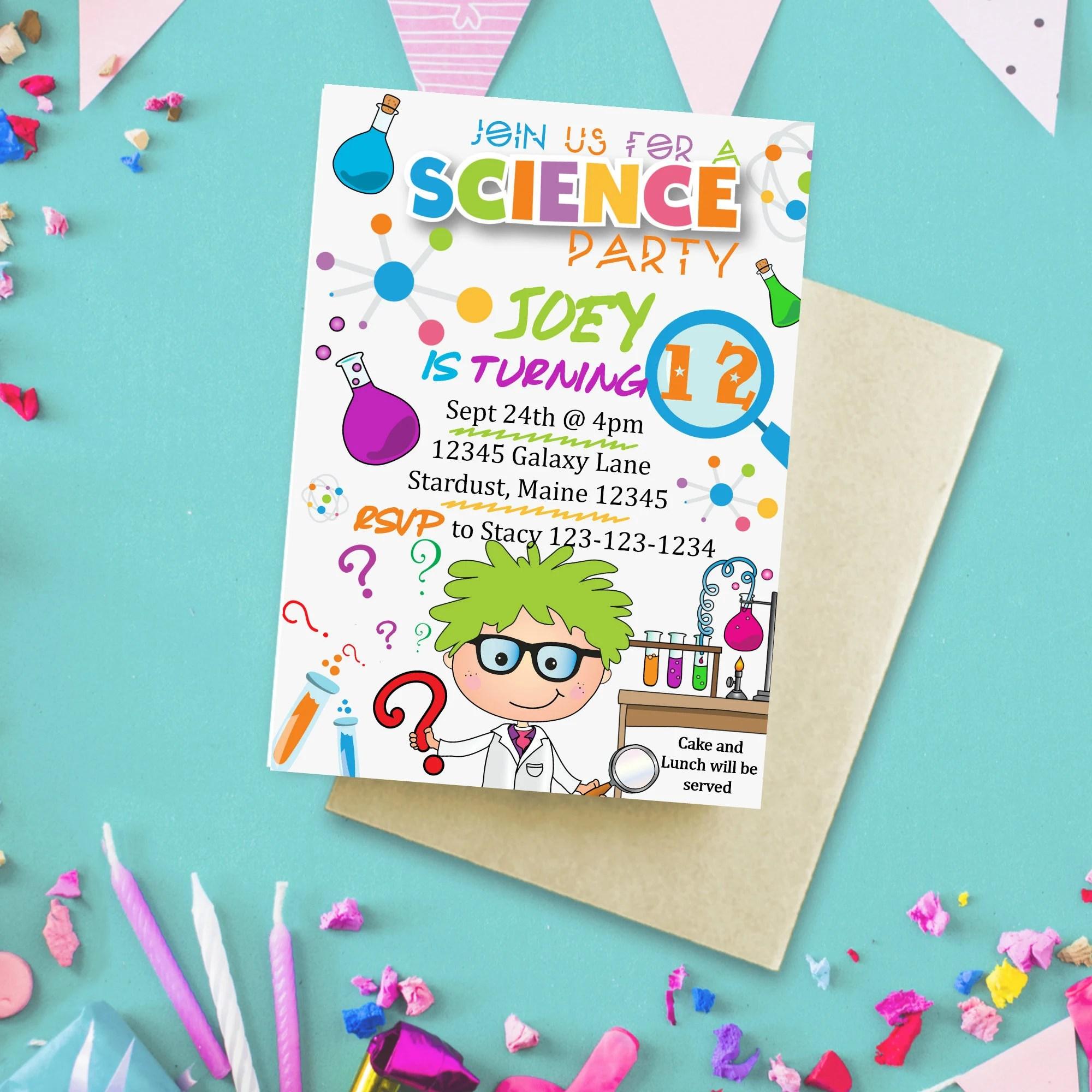 mad scientist invitation science