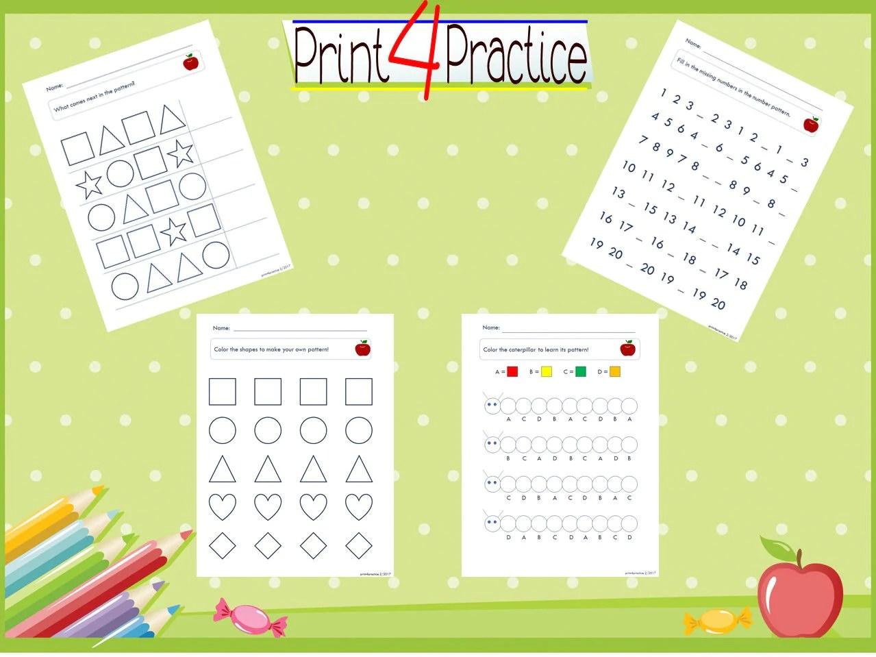 Pattern Practice Pattern Worksheets Practice Worksheets