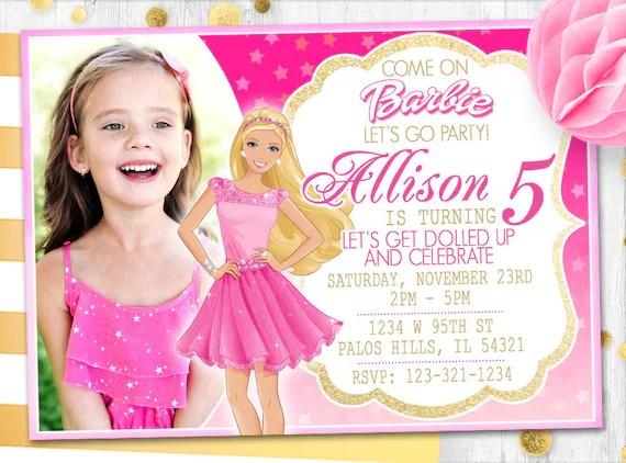 pink barbie invitation barbie photo card photo invitation barbie birthday card barbie invite barbie card