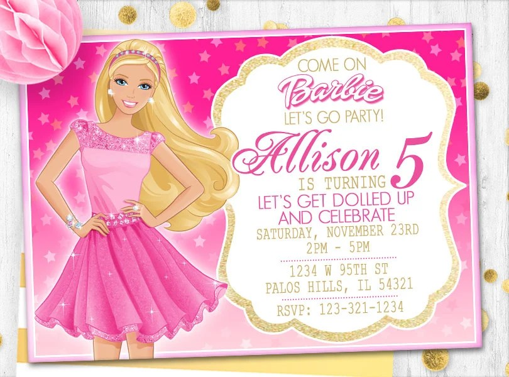 pink barbie invitation barbie birthday card barbie invite barbie card doll birthday card