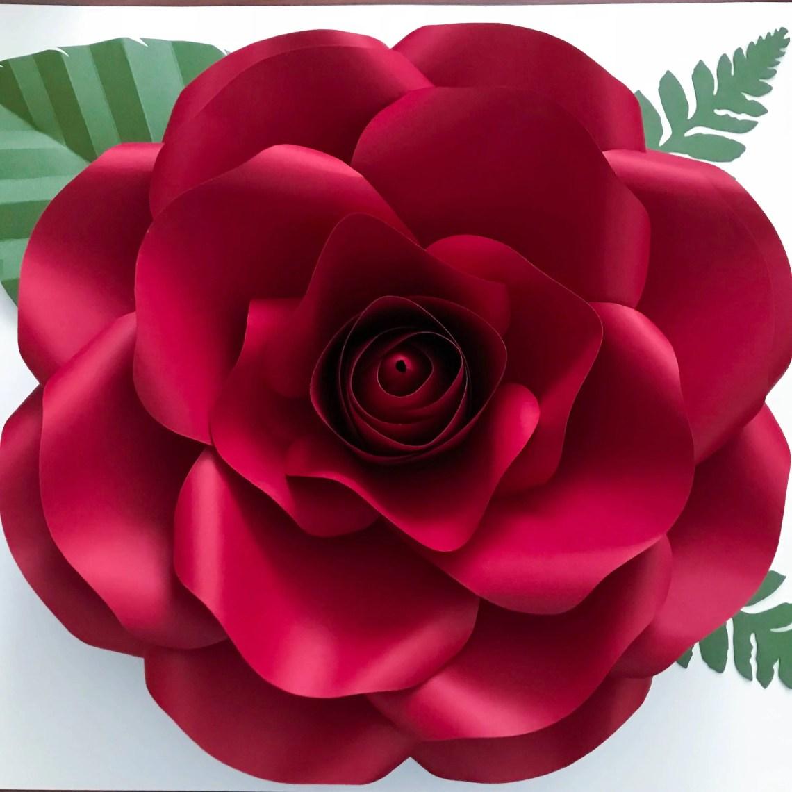 Download Paper Flowers -SVG New Medium Rose Paper Flower Template ...