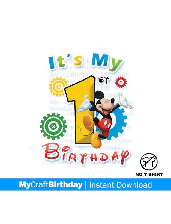 Mickey Mouse First Birthday Shirt Iron On 1st Birthday Etsy