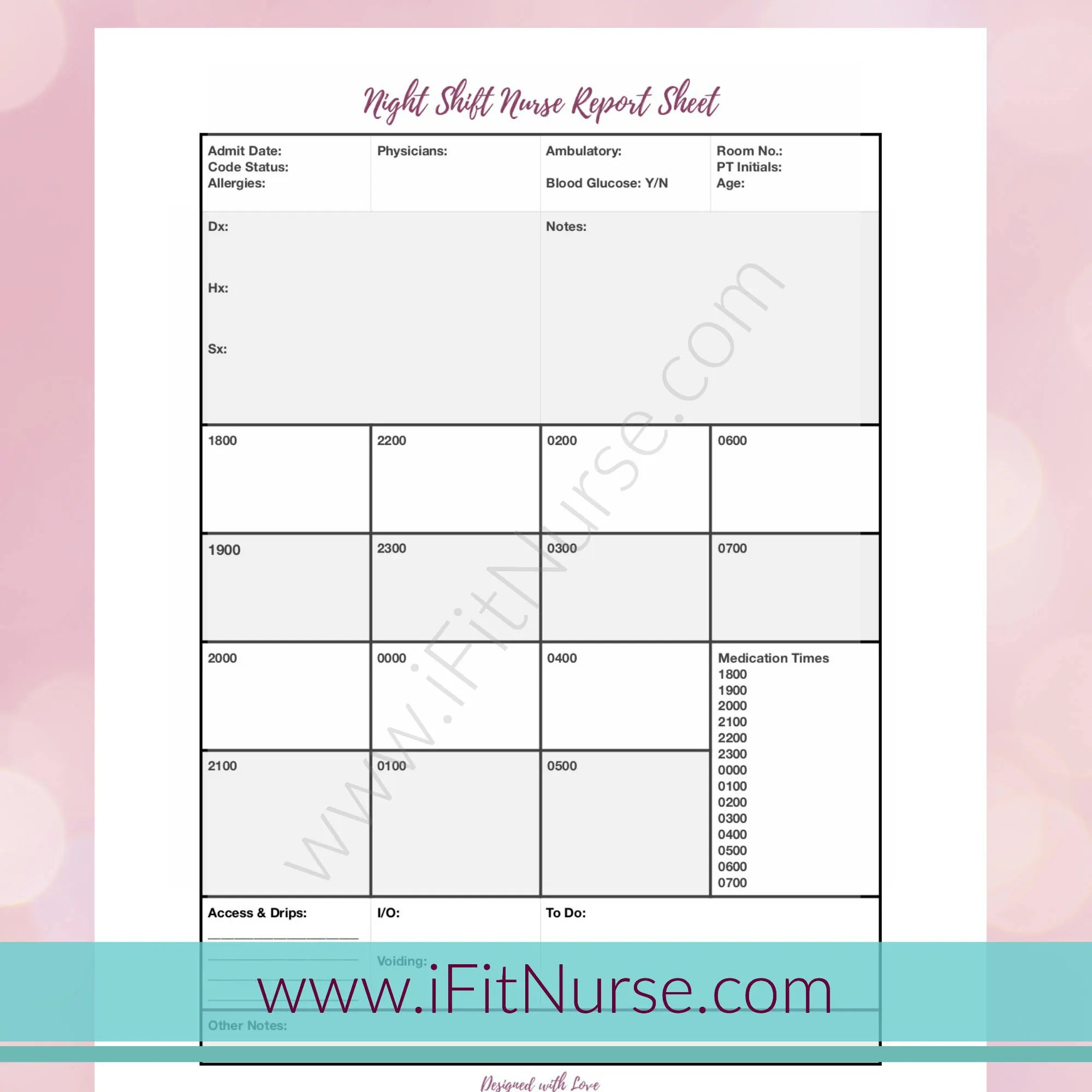 Nurse Report Sheet Night Shift