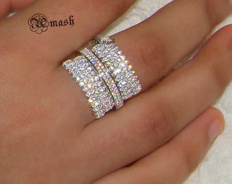 sterling silver statement ring art deco ring simulated diamond wide wedding band stacking stackable ring bague bijoux 2018 amash collection