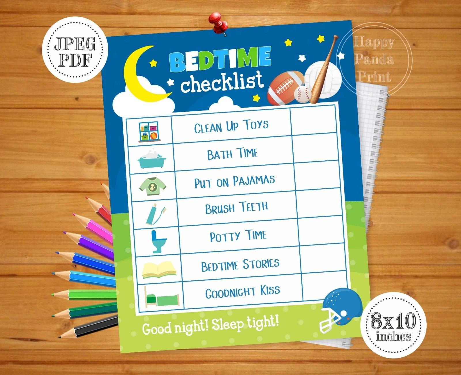 Bedtime Checklist Printable Boy Bedtime Routine Checklist