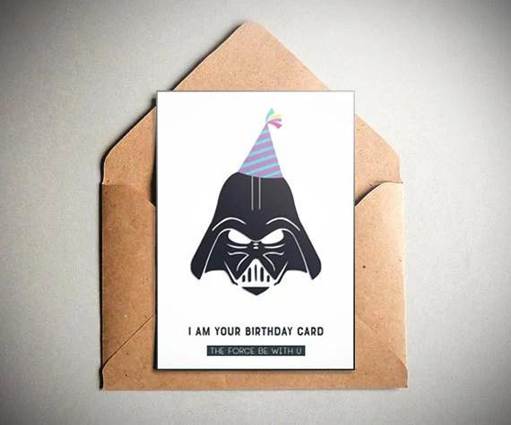 Star Wars Birthday Card Star Wars Darth Vader Birthday Party Etsy