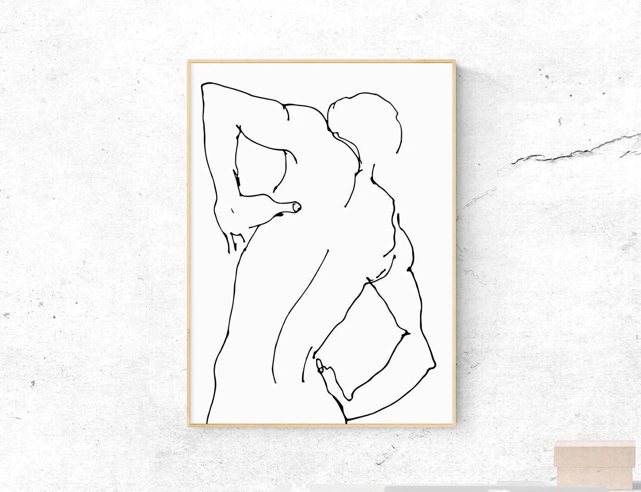 Drawing Print Figure Sketch Wall Art Printable Modern