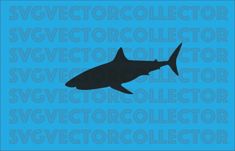 Great White Shark Silhouette Svg Dxf Eps Clip Art