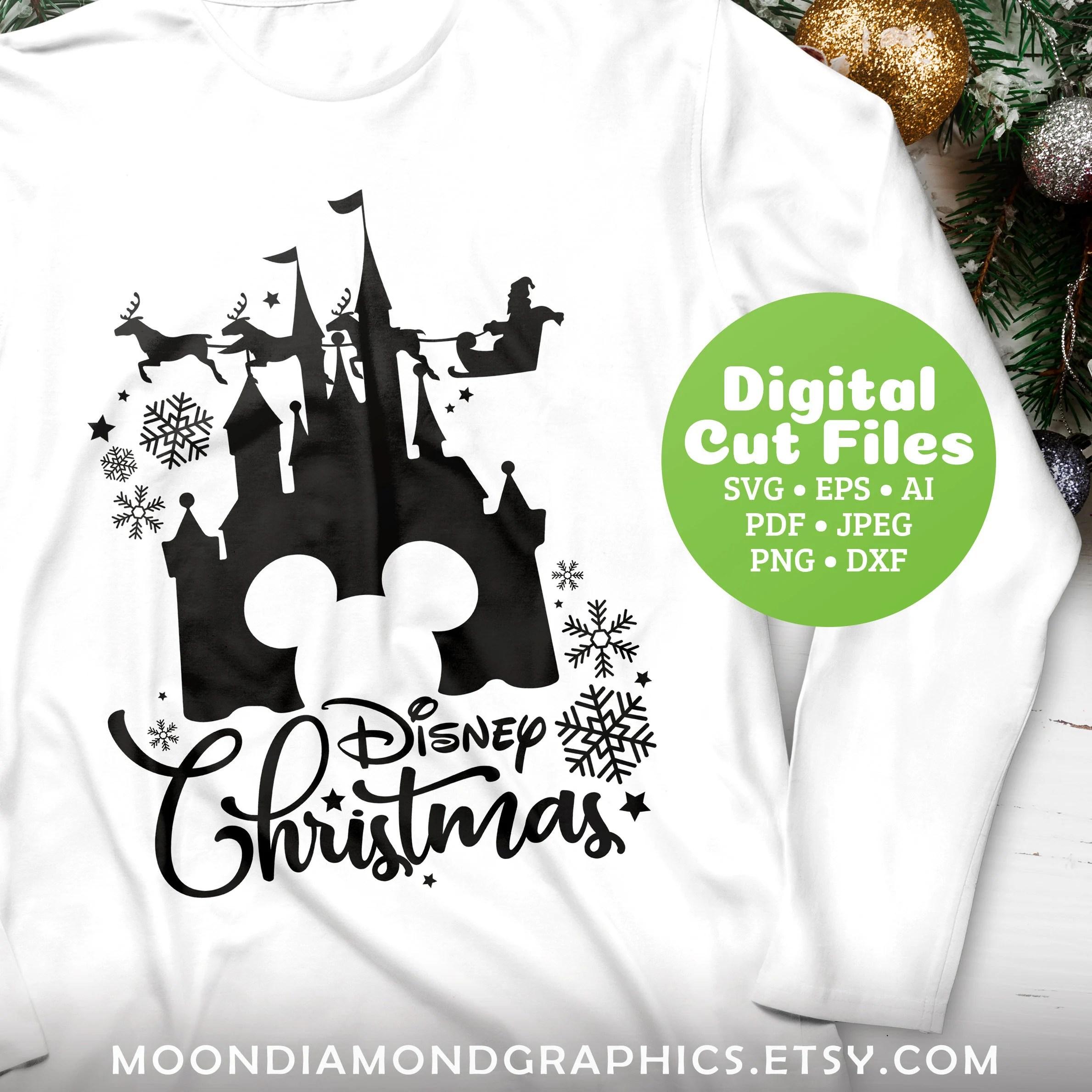 Merry Christmas Disney Castle Svg Cricut Cut Files Cricut