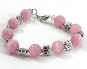 Pink Cateye and Flowers Beaded Bracelet