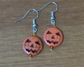 Jack-o-lantern Pumpkin Bead Dangle Earrings