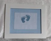 Blue Plaid Baby Feet Cross Stitch Nursery Wall Decor