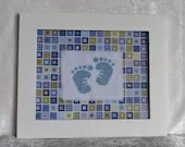 Boys Squared Baby Feet Cross Stitch Framed Nursery Wall Decor