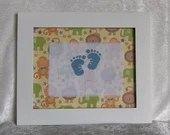 Jungle Animal Personalized Baby Feet Cross Stitch Framed Nursery Decor