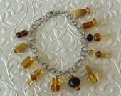 Amber Glass Bead Bracelet...
