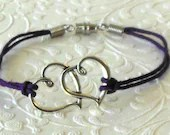 Two Hearts Charm Purple Hemp Bracelet