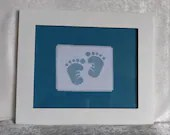 Denim Blue Baby Feet Cross Stitch Nursery Wall Decor