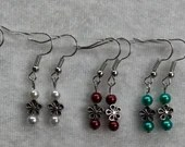 Metal Daisy and Pearl Dangle Earrings