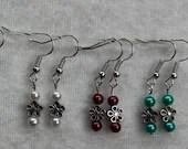 Metal Daisy and Pearl Dangle Earrings