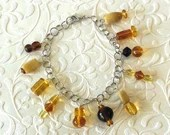 Women's Amber Glass Bead Charm Bracelet, Gifts for Her, Gifts for Mom, Unique Gifts