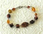 Earth Stone Amber Brown Beaded Bracelet