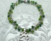 Dog Paw Green Beaded Bracelet