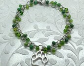Dog Paw Green Beaded Bracelet