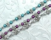 3D Flowers and Pearls Custom Bracelet, Gifts for Her