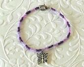 Butterfly Purple Beaded Charm Bracelet