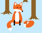 Mother Fox and Baby Fox in Forest Art Print