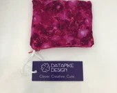 Flannel Lined Zipper Pouch Bag - Sparkly Pink Galaxy Fabric