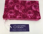 Flannel Lined Zipper Pouch Bag - Pink Roses Fabric