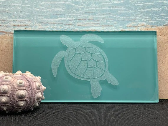 glass subway tile with etched sea turtle etsy