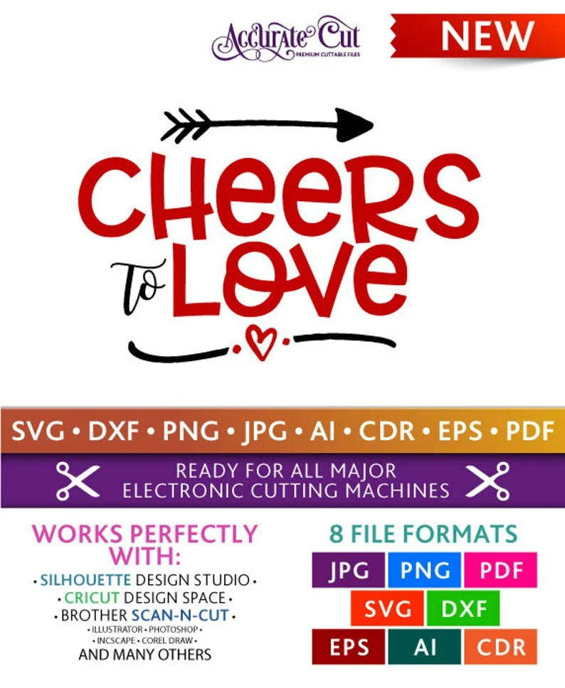 Download Cheers to Love Svg Cheers to Love Cut Files Valentine's | Etsy