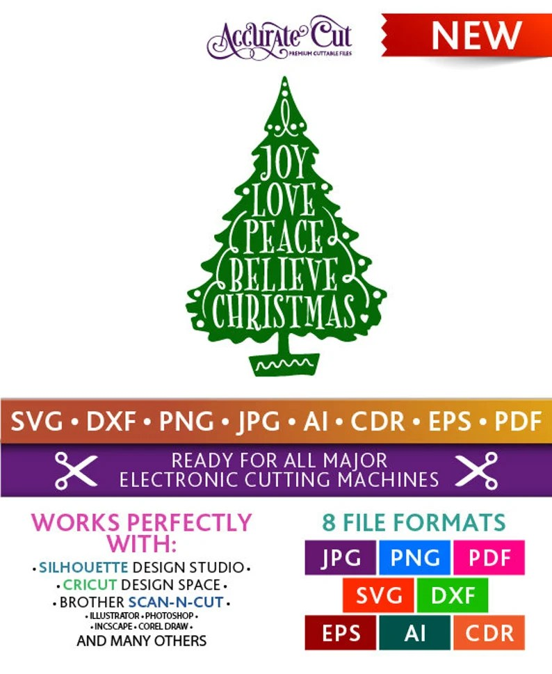 Download Joy Love Peace Believe Christmas Svg Joy Love Peace ...