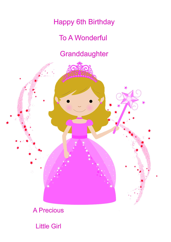 Granddaughter 6th Birthday Card Etsy