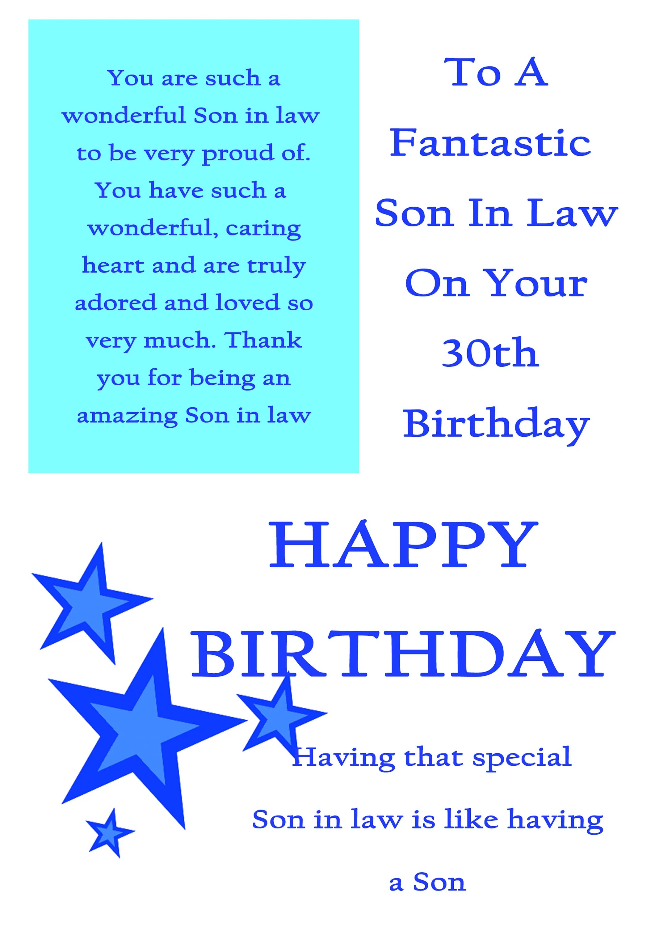Son In Law 30 Birthday Card With Removable Laminate Etsy