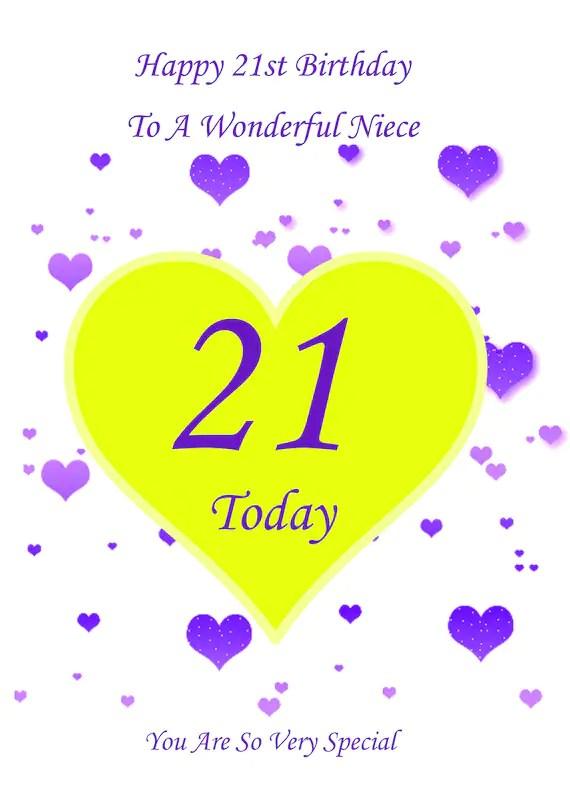 Niece 21st Birthday Card Etsy