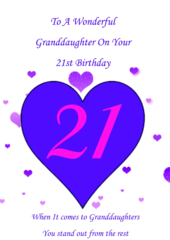 Granddaughter 21st Birthday Card Etsy