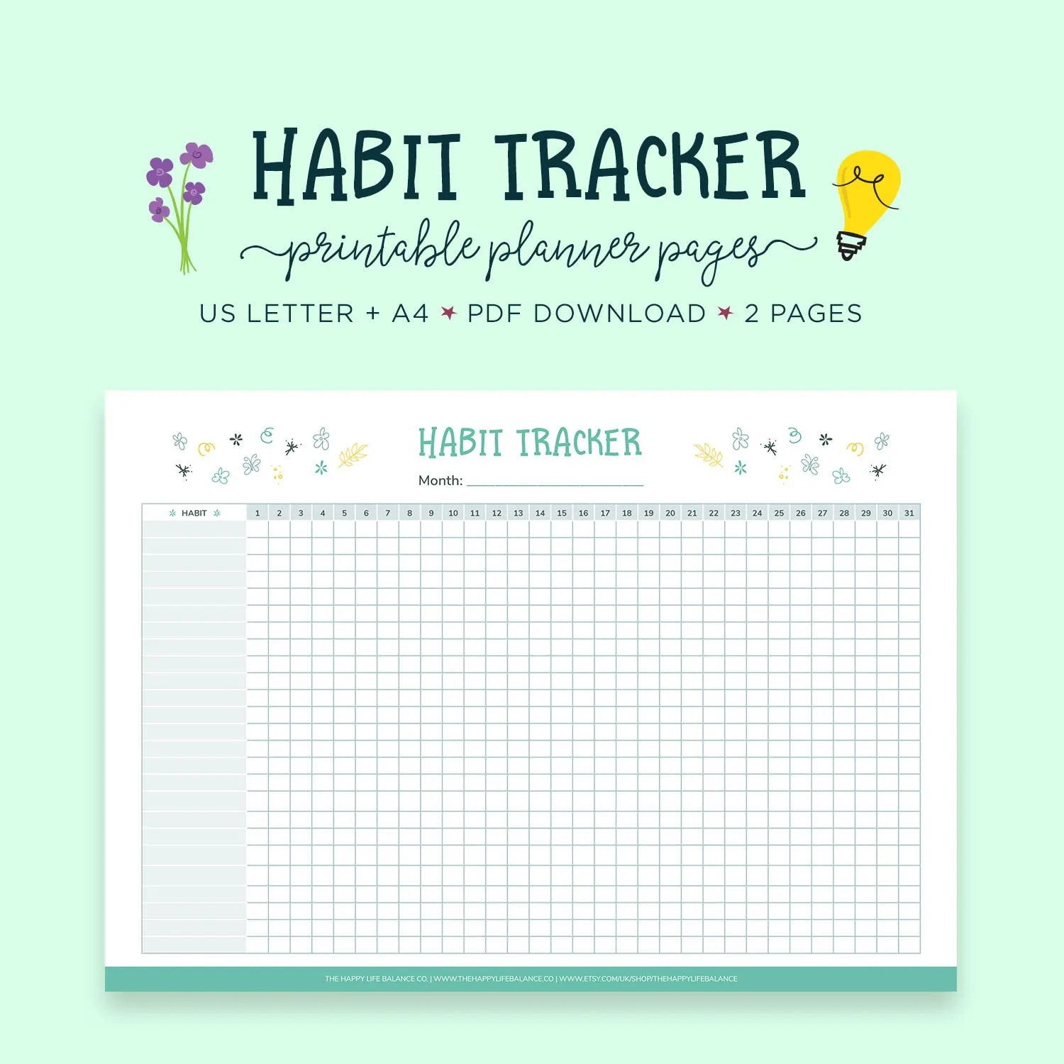 Habit Tracker Daily Habits Planner Goal Tracker Self Care