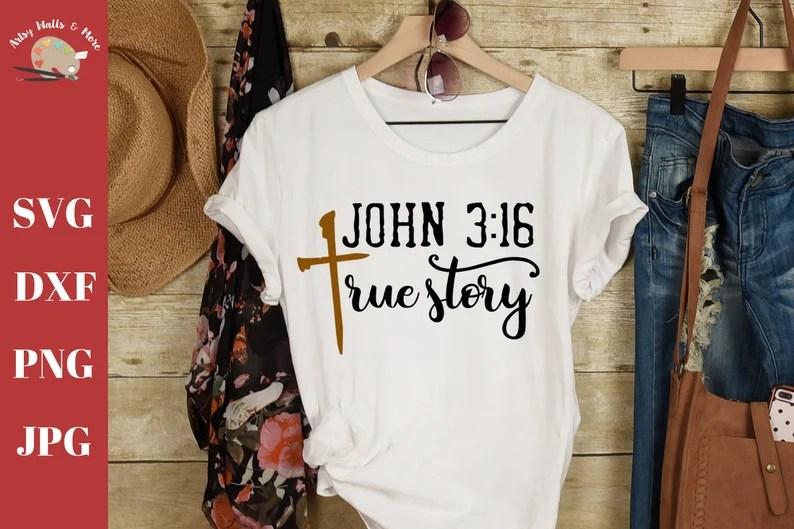 Download John 3:16 True Story svg CUT file Faith cross svg file | Etsy