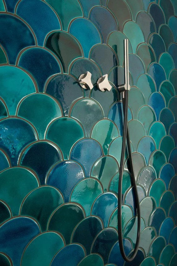 handmade ceramic mosaic tiles morocco fish scale ceramic etsy