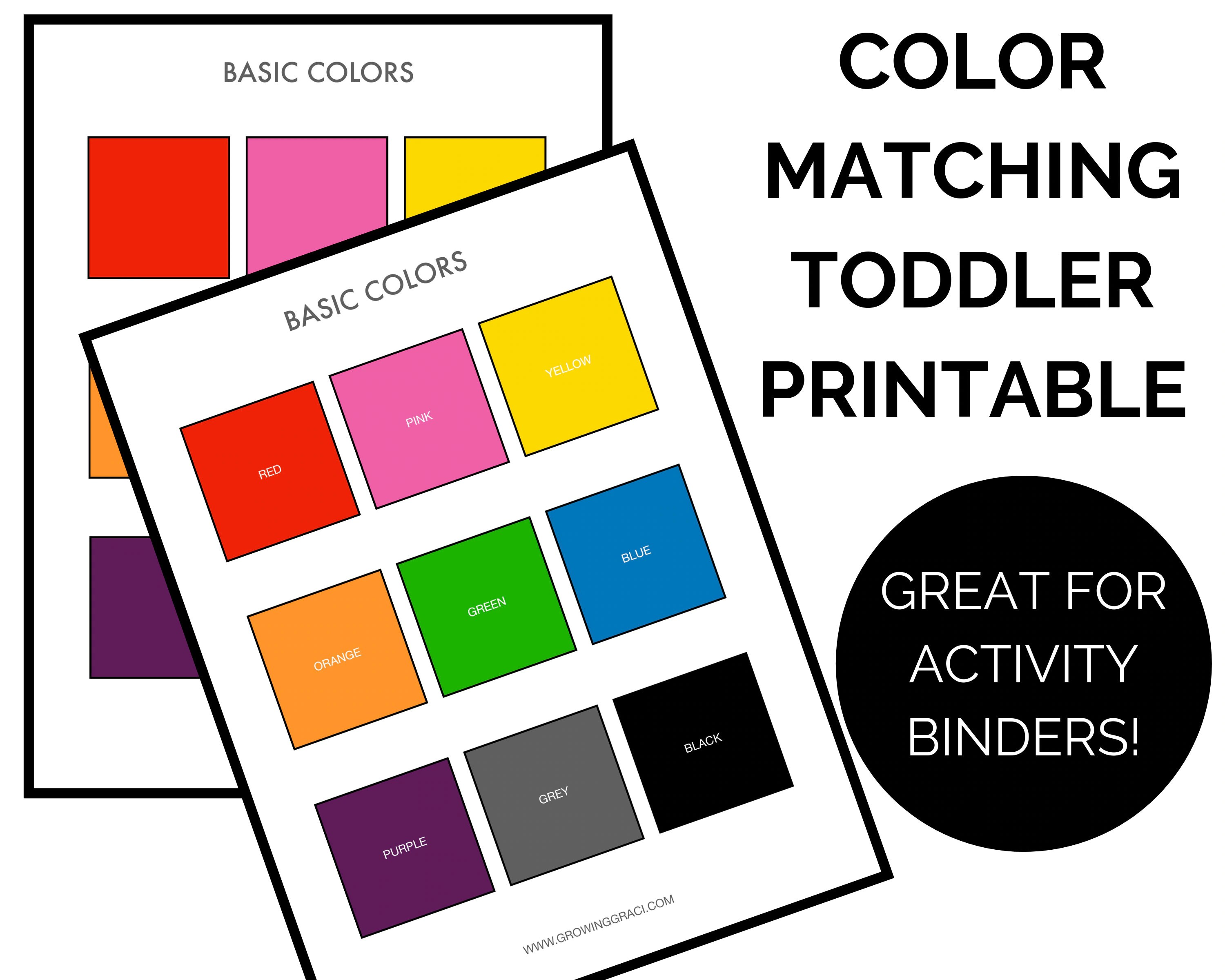Color Matching Game Printable Toddler Preschool Learning