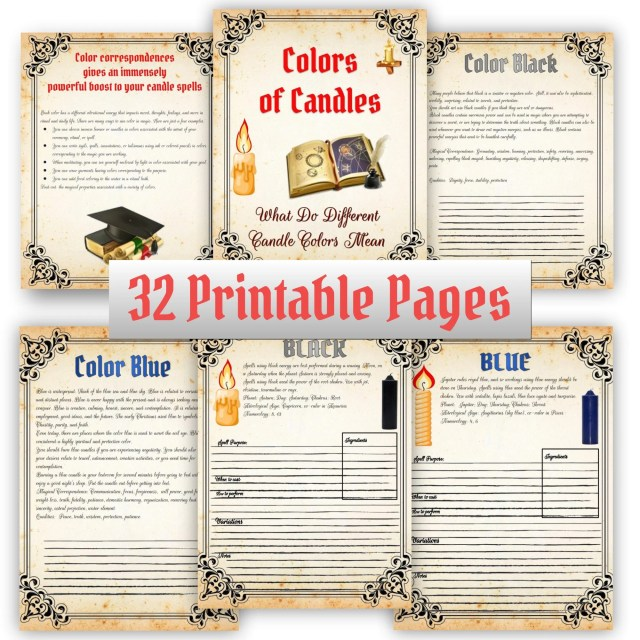 Witchcraft Candle Magic Grimoire Pages, Candle Color Meaning, Witch Print,  Wiccan Rede- 12 Pages