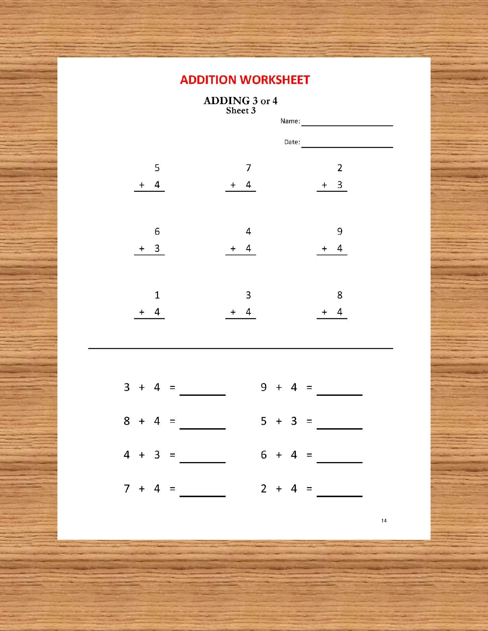 Addition Math Workbook 56 Worksheets With Answers