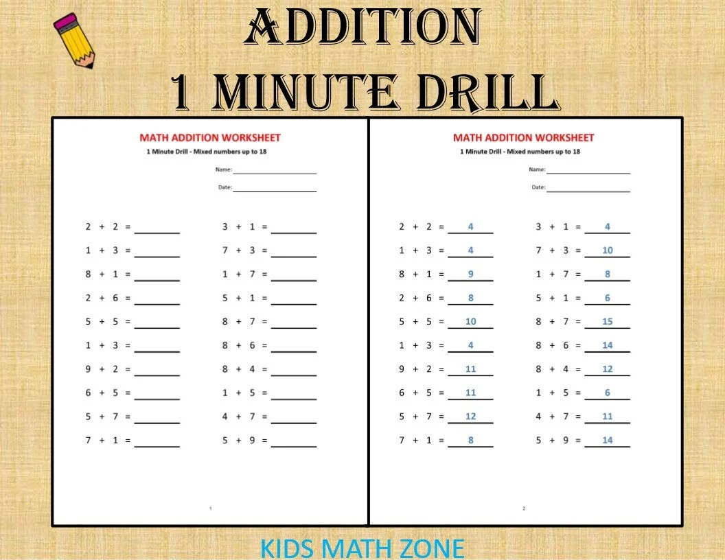 Addition 1 Minute Drill H 10 Math Worksheets With Answers
