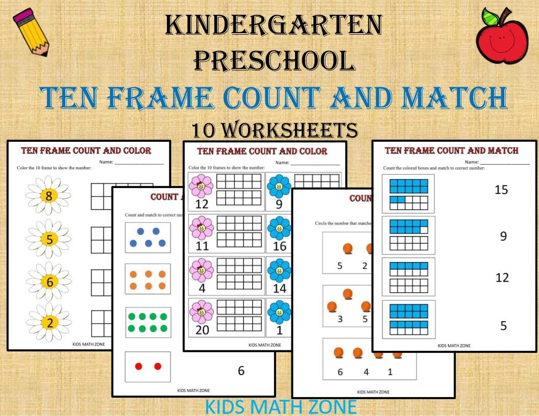 Ten Frame Counting And Match Numbers Printable Worksheets